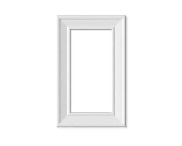 1x2 vertical portrait picture frame. realisitc paper, wooden or plastic white blank for photographs.
