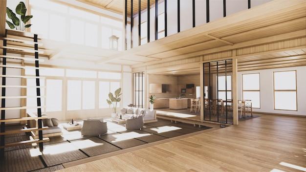 2階建ての家の1階の和風インテリア。 3dレンダリング