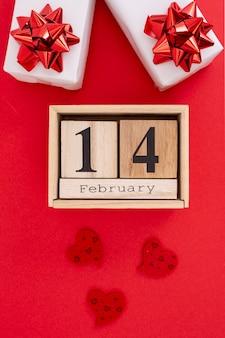 2月14日のプレゼント付きフラットレイアウトデコレーション
