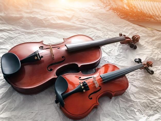 2つの異なるサイズのバイオリンが地上1階に置かれています