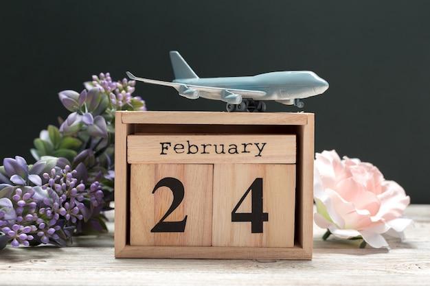2月24日。 2月24日、カレンダーフラット横たわっていた、トップビュー。冬時間