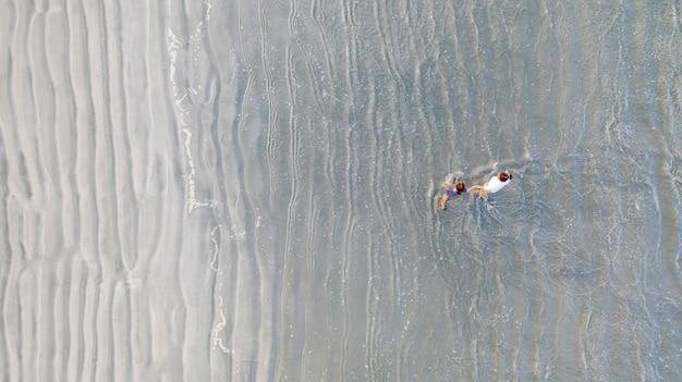 2人の若い友人または2人の姉妹がお互いに手を取り合ってビーチを前に歩く