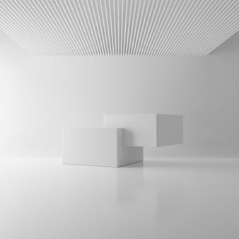 天井の部屋の背景に白い2つの長方形ブロックキューブ。抽象的な近代建築のモックアップコンセプト。最小限のインテリア。スタジオ表彰台プラットフォーム。ビジネスプレゼンテーションステージ。 3 dイラストレンダリング