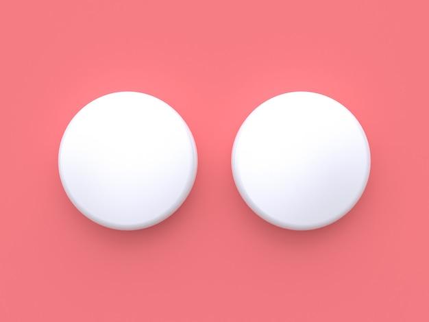 2つのデュアルホワイトサークル3 dレンダリングピンク最小最小限