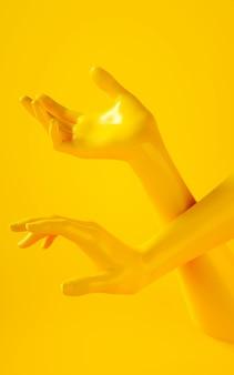 黄色の背景に2つの黄色い手の垂直3 dレンダリング