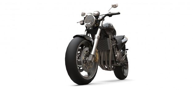 黒い都市スポーツ2人乗りオートバイ。 3dレンダリング。