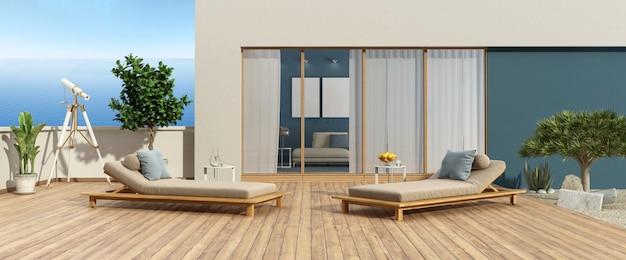 堅木張りの床に海と2つの長椅子を望むモダンなヴィラのテラス-3dレンダリング