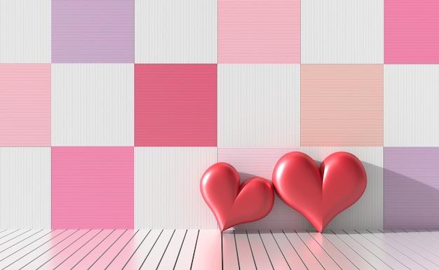 明るい色と多様な木の壁に2つの赤い心。バレンタインデーの愛。 3dレンダリング