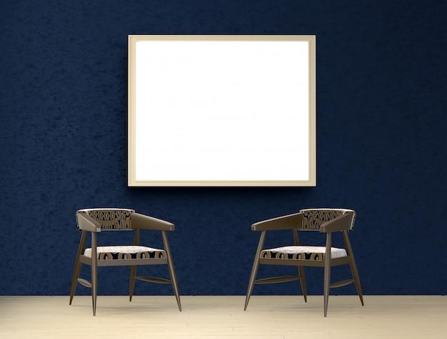 2つの椅子と絵が飾られた青い部屋。 3dレンダリング