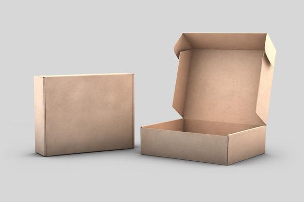 2 blank kraft shipping boxes