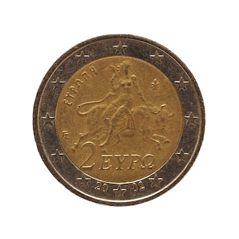 2 euro coin, european union isolated over white