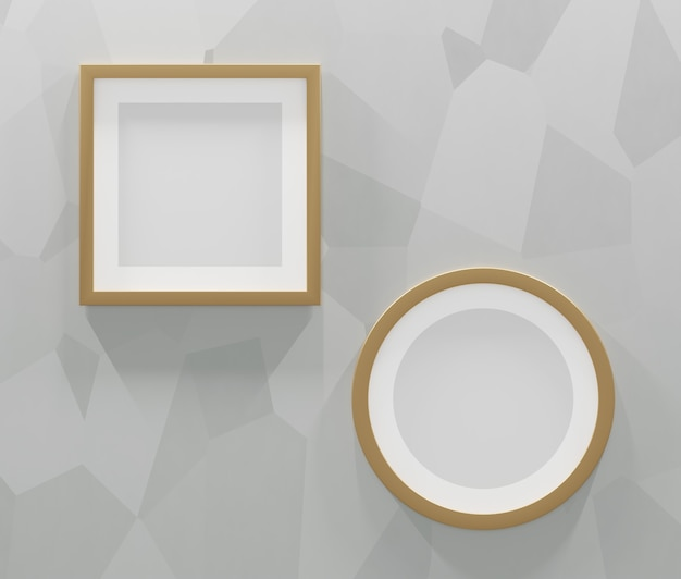 2 gold frames on a gray abstract background. 3d render