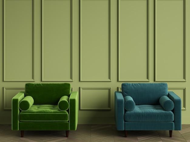 2 зеленых кресла в классическом интерьере с копией пространства
