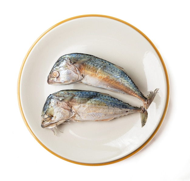 2 mackerel on a plate isolated on a white background, mackerel is a small fish that is popular for cooking, mackerel meat has many nutrients. both linoleic acid and cocosahecinoic acid (dha).