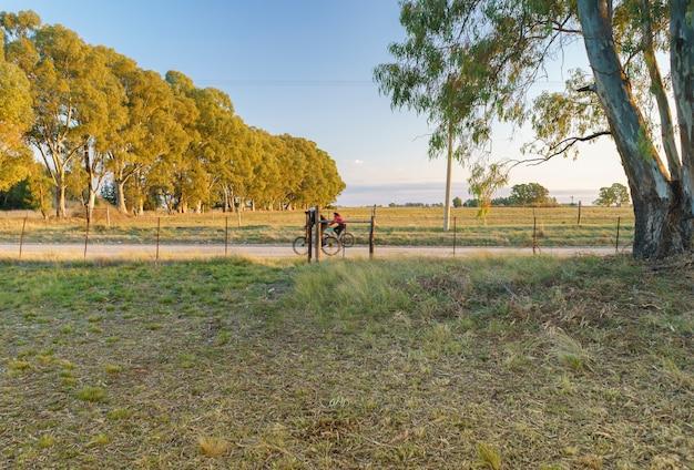 아름다운 시골 풍경 한가운데에서 자전거를 타는 두 사람