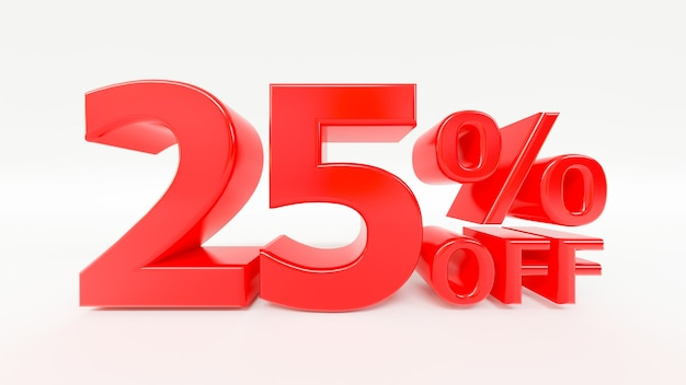 2 percent off 3d text in white background