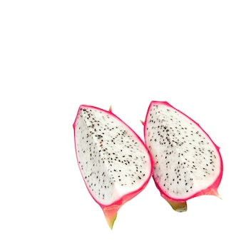 2 pieces of dragon fruit on an isolated
