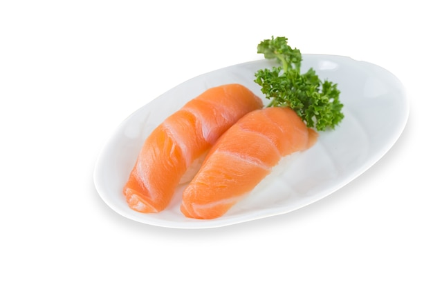 2 salmon sushi on a white background