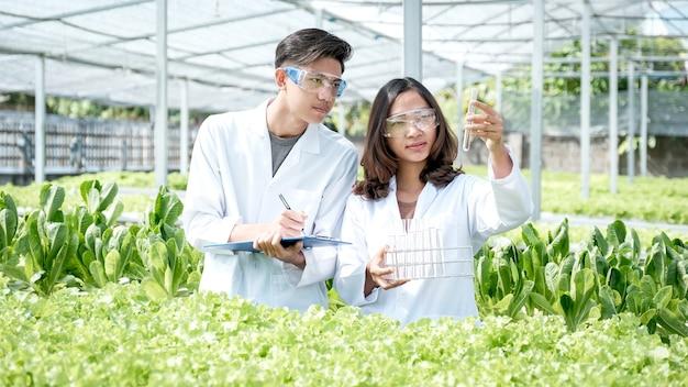 2 과학자들은 수경 재배 농장에서 채취 한 유기농 야채 샐러드와 상추의 품질을 조사하여 클립 보드에 기록했습니다.