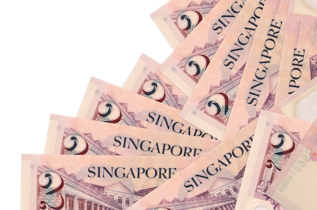 2 singaporean dollars bills lies in different order isolated  . local banking or money making concept.