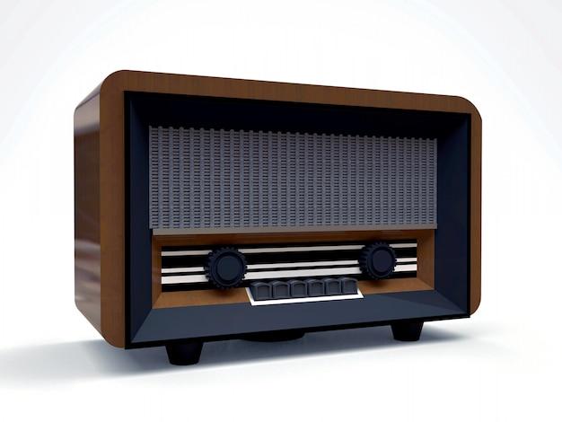 木と白い背景に黒いプラスチックで作られた古いビンテージチューブラジオ受信機。古い20世紀半ばのラジオ。 3 dイラスト。
