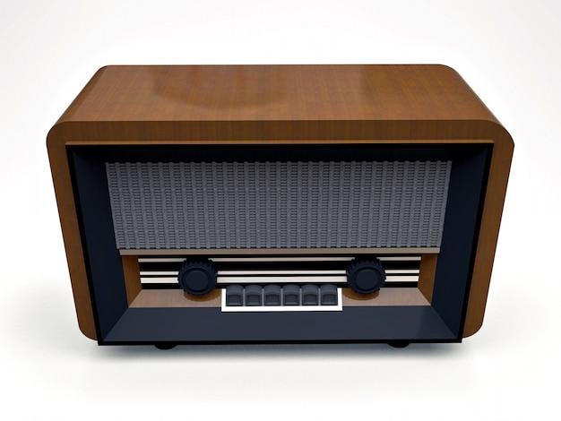Старый винтажный радиоприемник трубки сделанный из древесины и черной пластмассы на белой предпосылке. старое радио середины 20 века. 3d иллюстрации