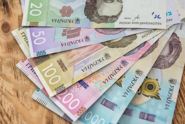 20 50100200500 1000 새 지폐. 우크라이나 돈. 어