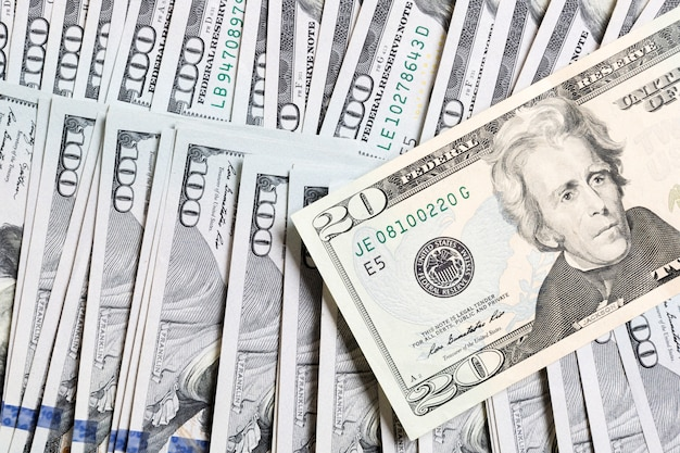 20 dollar bill on dollar banknotes top view of business concept on background with copy space.