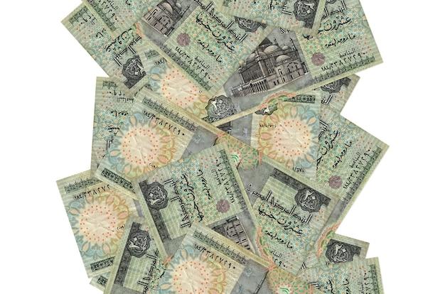 白で隔離されて飛んでいる20エジプトポンド紙幣。多くの紙幣が左右に白いコピースペースで落ちています