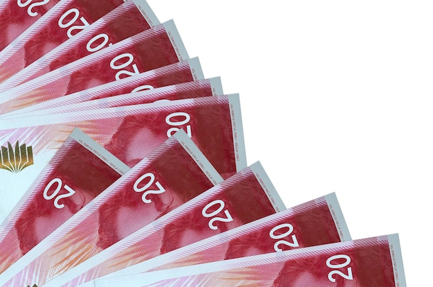 20 israeli new shekels bills lies isolated on white background with copy space stacked in fan close up