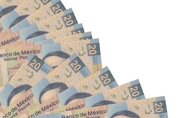 20 mexican pesos bills lies isolated on white wall with copy space stacked in fan close up. payday time concept or financial operations