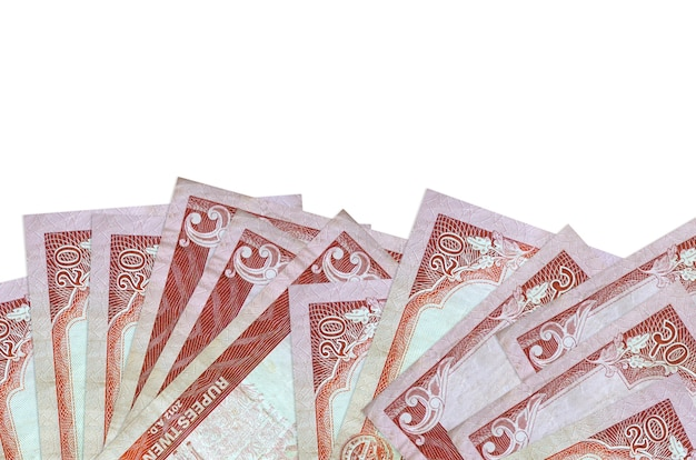 20 nepalese rupees bills lies on bottom side of screen isolated on white