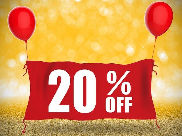 Скидка 20% на баннер на красной ткани с красными воздушными шарами
