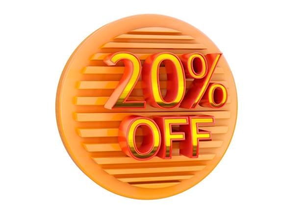 Скидка 20% на белой поверхности, рекламная марка для применения в баннерах, этикетках и бирках.