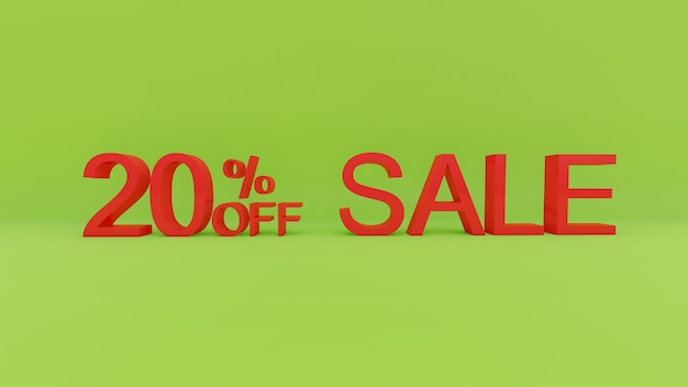 Текст продажи 20 процентов в 3d зеленой стене