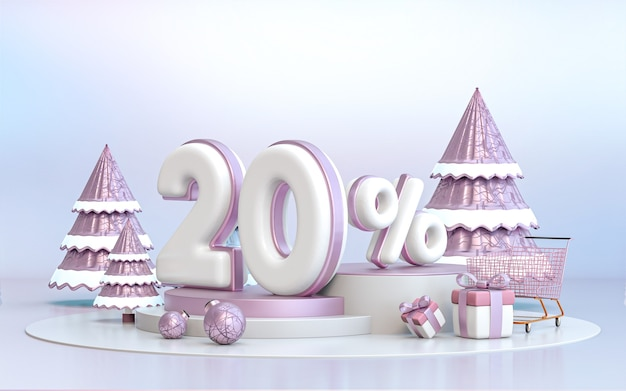 20 percent winter special offer discount background for social media promotion poster 3d rendering