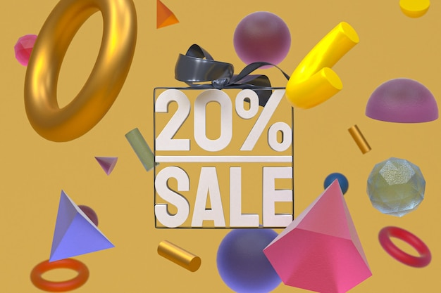 Распродажа 20% с бантом и лентой 3d-дизайн на фоне абстрактной геометрии