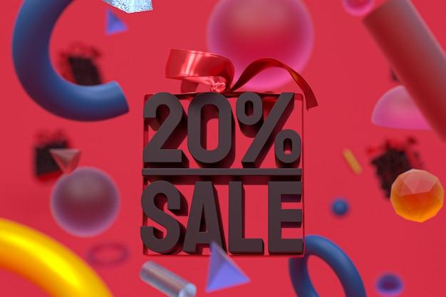 Распродажа 20% с бантом и лентой 3d-дизайн на баннере с абстрактной геометрией