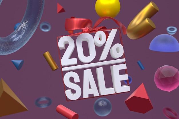 Распродажа 20% с бантом и лентой 3d дизайн на абстрактной геометрии