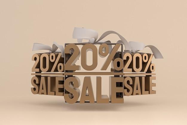 Продажа 20 с бантом и лентой 3d-дизайн на пустом фоне