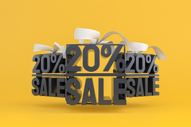 Распродажа 20% с бантом и лентой 3d-дизайн на пустом фоне