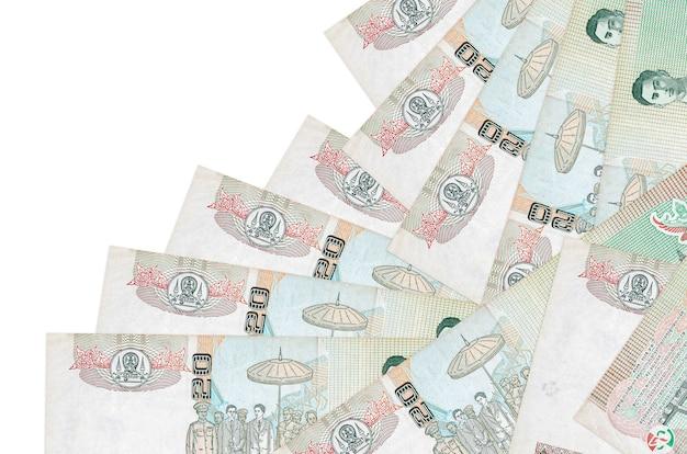 20 태국 바트 지폐는 흰색에 고립 된 다른 순서로 놓여 있습니다. 지역 은행 또는 돈 버는 개념.