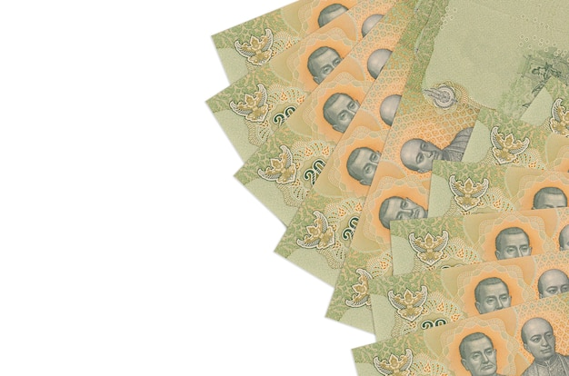 20 thai baht bills lies isolated on white