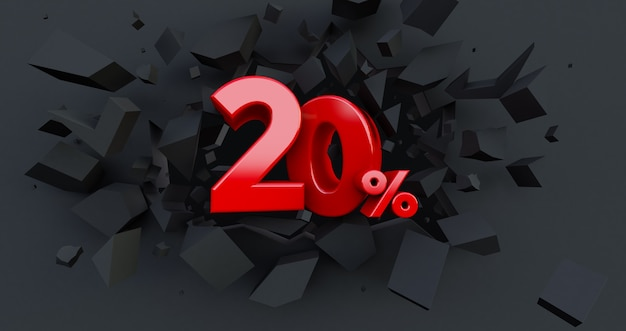 20 twenty percent sale. black friday idea. up to 20%. broken black wall with 20% in the center