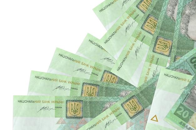 20ウクライナグリブナの請求書は白で隔離された異なる順序であります。ローカルバンキングまたは金儲けの概念。