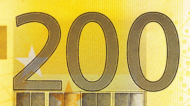 Счет за 200 евро на макросе. фото высокого разрешения.