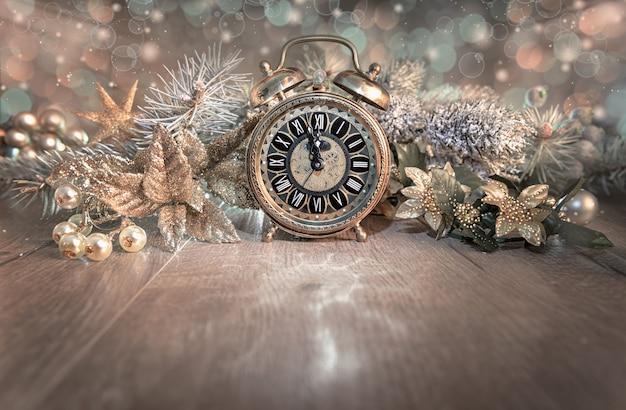グリーティングカード、ハッピーニューイヤー2016!、ヴィンテージの時計を表示