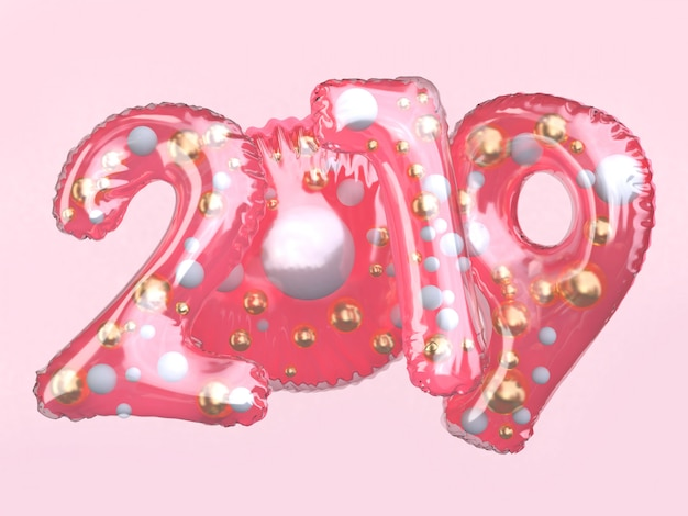 ピンクのクリア光沢のあるバルーン番号2019浮動3 dレンダリング