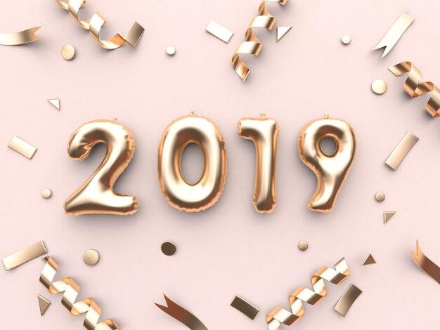 2019 balloon number type 3d rendering