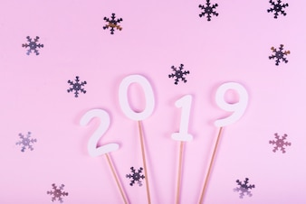 2019 figures on sticks with shimmering snowflakes